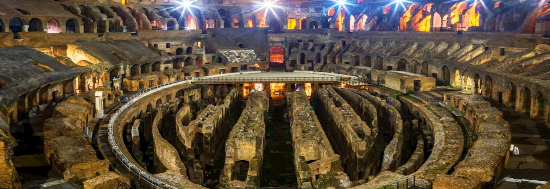 View of the inside of the Colosseum at night