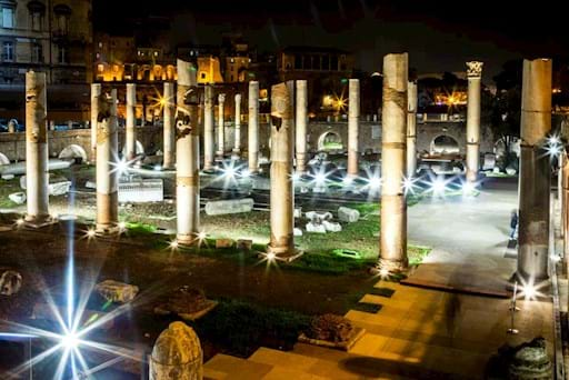 View of the Roman Forum near the Colosseum at night