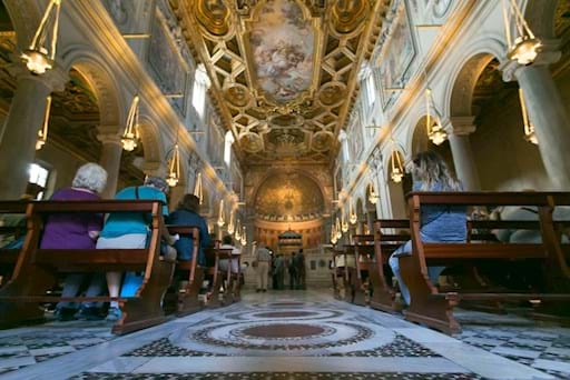 Beautiful interior of the St. Clement Church in Rome