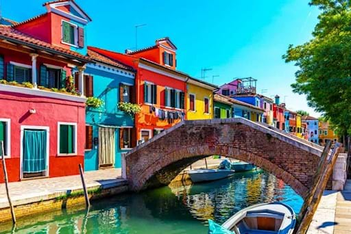 stunning view of Burano's canal